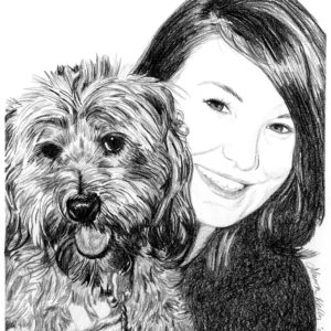 drawing of dog and girl